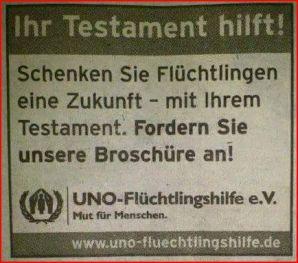 Testament für Flüchtlinge