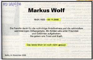 Marcus Wolf Nekrologe