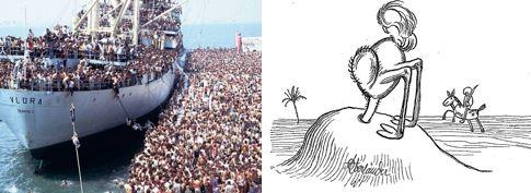 Strauß und Schiff
